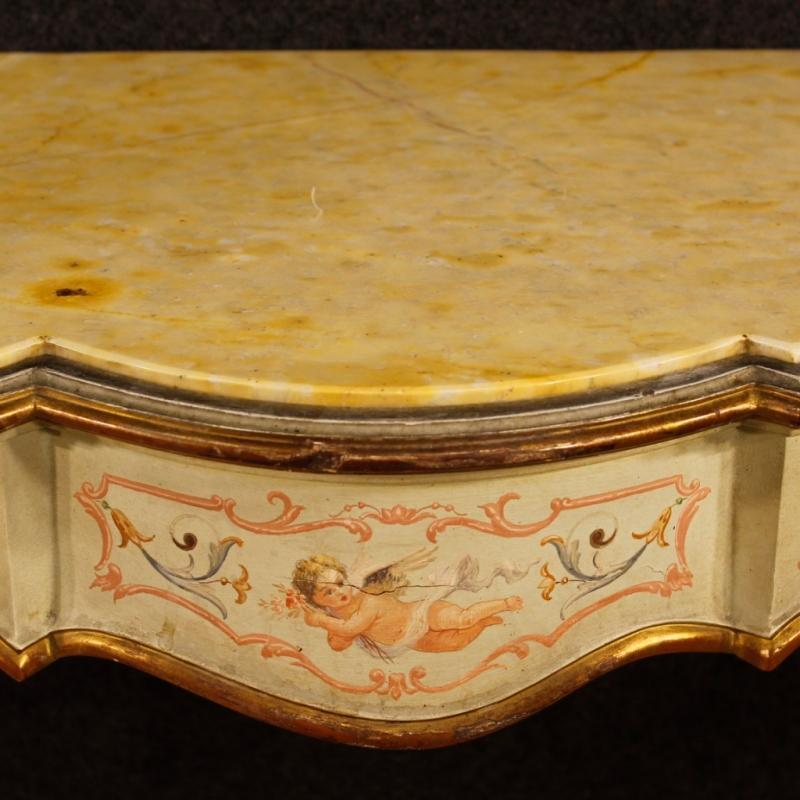 Italian Lacquered, Painted, Gilt Console Table With Marble Top 20th Century