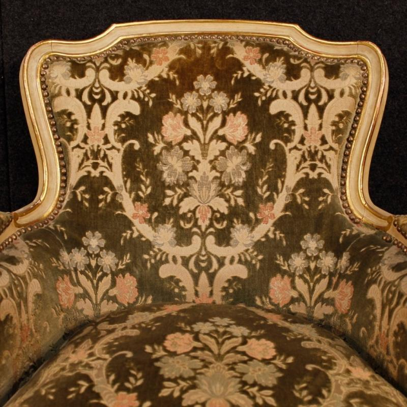 Pair Of Italian Lacquered And Gilt Armchairs In Wood In Damask Velvet 20th Century