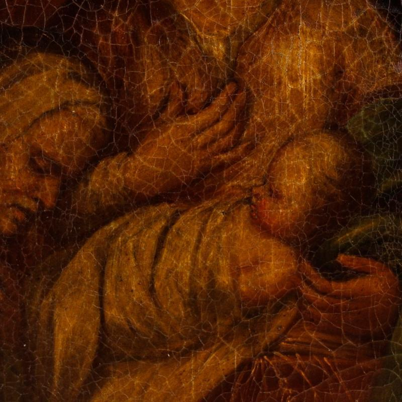 Spanish Religious Painting Holy Family Oil On Canvas 18th Century