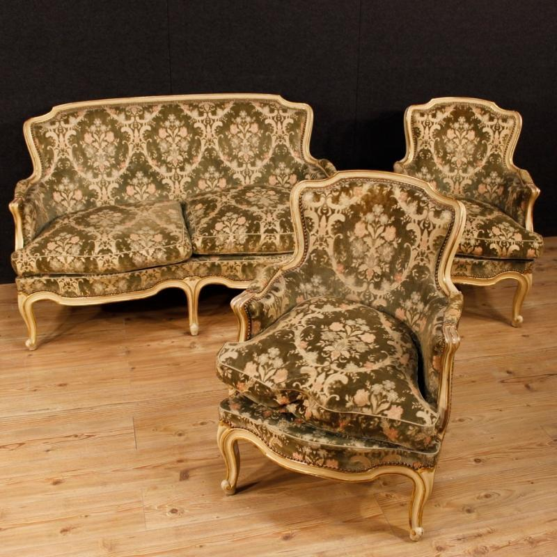 Italian Sofa In lacquered And Gilt Wood In Damask Velvet 20th Century