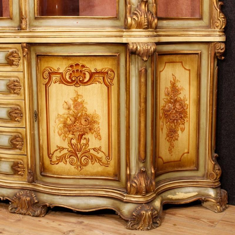 Italian Bookcase In Lacquered And Gilt Wood from 20th Century