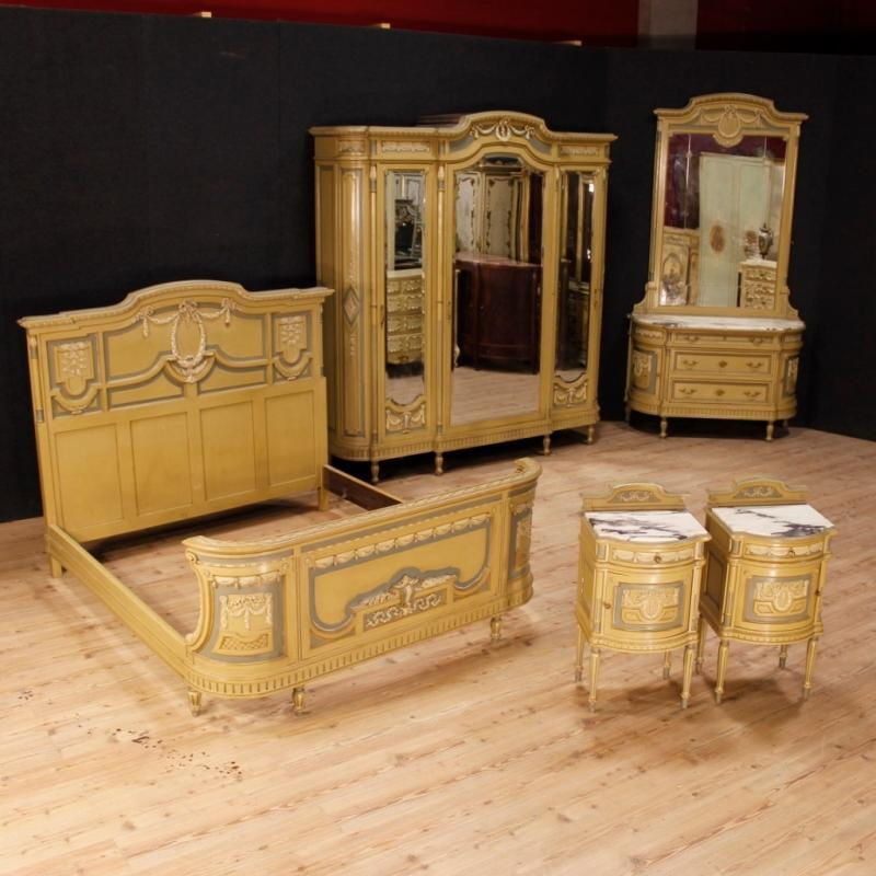 Pair Of Italian Lacquered Bedside Tables With Marble Top In Louis XVI Style 20th Century