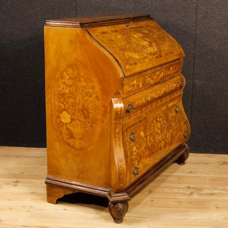 Dutch Bureau In Inlaid Walnut, Burl, Rosewood, Maple, Mahogany, Fruitwood 20th Century