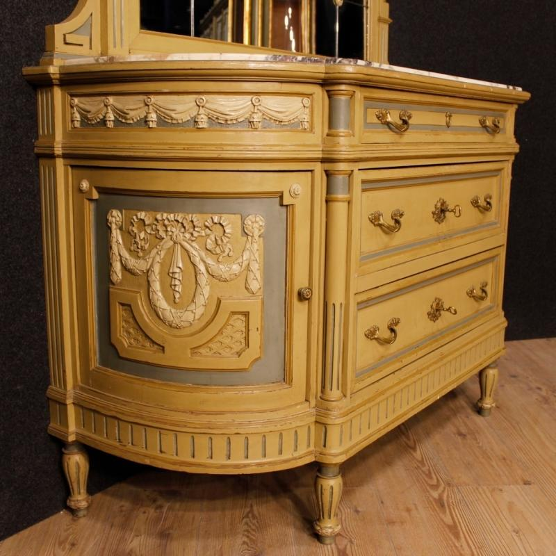 Italian Dresser With Mirror In Lacquered Wood With Marble Top In Louis XVI Style 20th Century