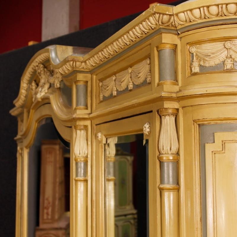 Italian Wardrobe In Lacquered Wood With Mirrors In Louis XVI Style From 20th Century