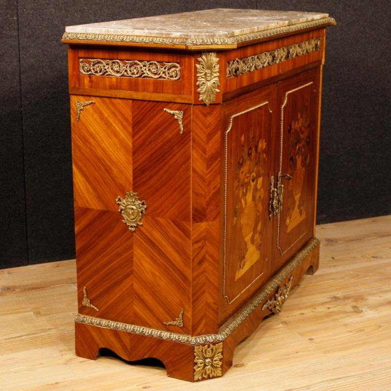 French Inlaid Sideboard In Wood With Marble Top And Bronzes From 20th Century