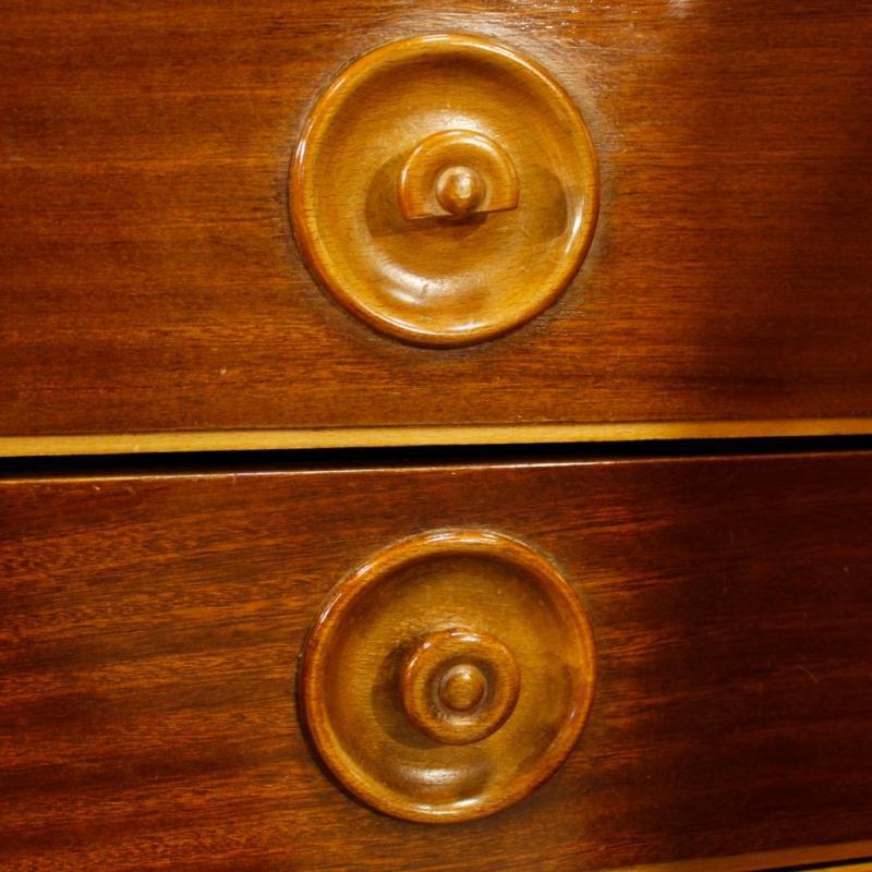Italian Inlaid Sideboard In Walnut, Maple, Mahogany With 5 Doors From 20th Century