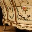 Venetian Dresser In Lacquered, Silvered And Painted Wood With Floral Decorations