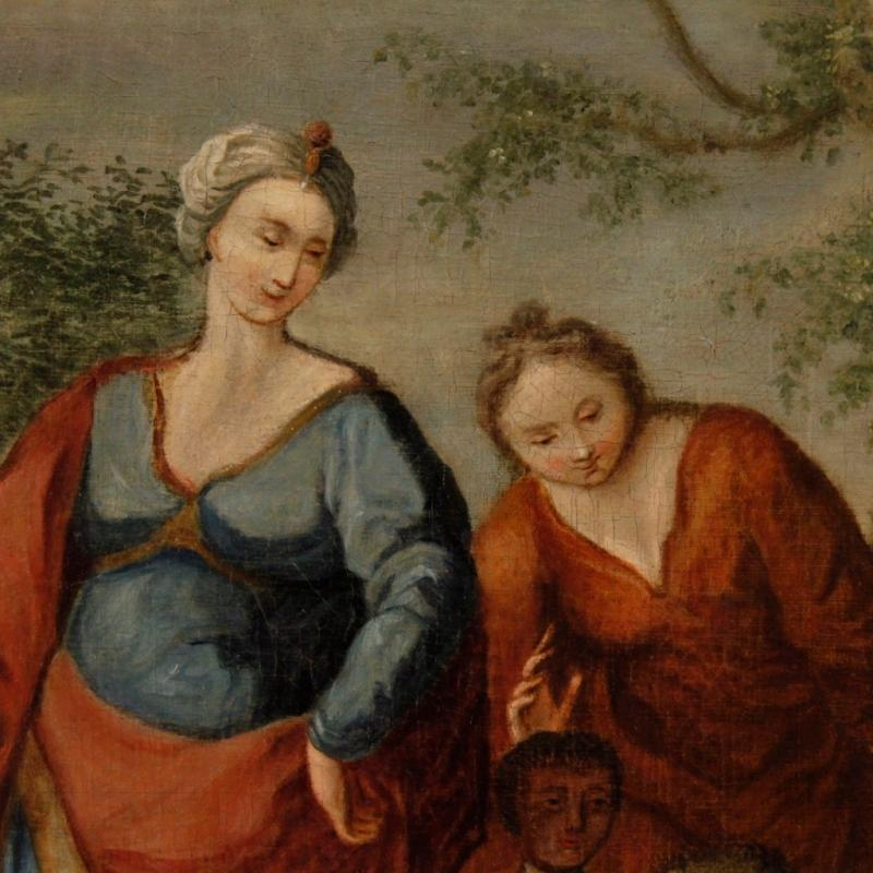 Antique French Religious Painting Biblical Scene Oil On Canvas From 18th Century