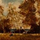 French Signed Painting Oil On Board Landscape With Characters From 20th Century