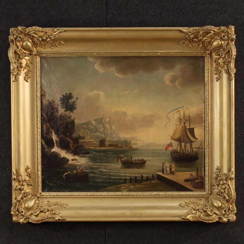 19th Century French Painting Depicting Seascape Oil On Canvas