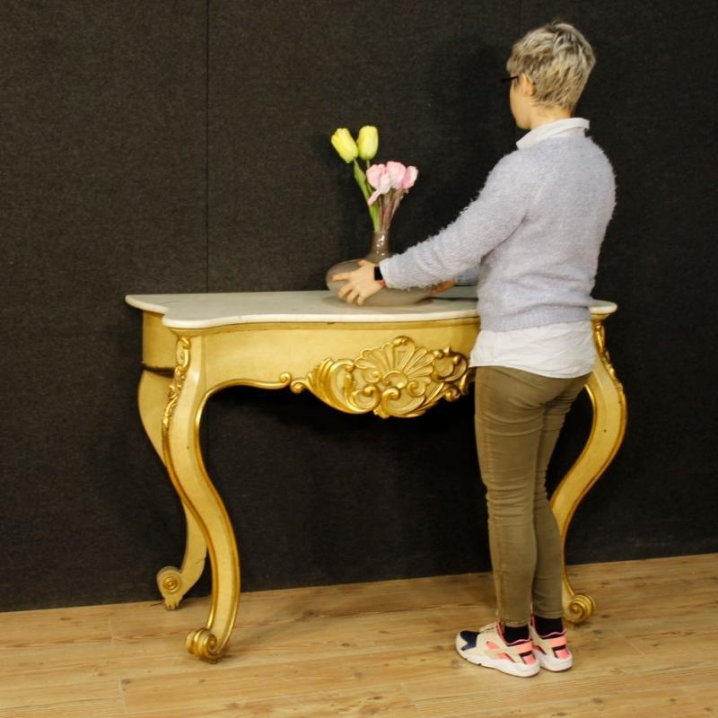Italian Console Table In Lacquered And Gilt Wood With Marble Top From 20th Century