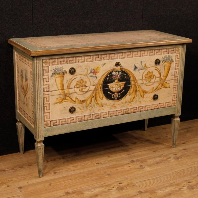 Italian Lacquered And Painted Dresser In Wood With 2 Drawers In Louis XVI Style 20th Century