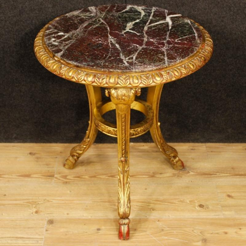 Pair Of French Side Tables In Gilt Wood With Marble Top From 20th Century