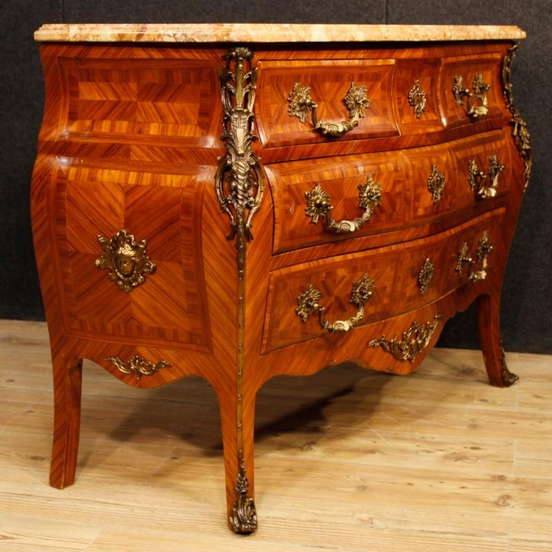 French Chest Of Drawers In Rosewood With Marble Top With Gilt Bronzes From 20th Century
