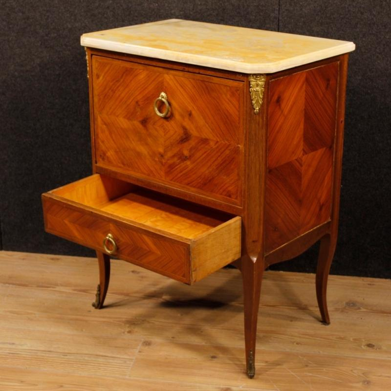 French Commode in Rosewood And Mahogany With Onyx Top And Gilt Bronzes From 20th Century