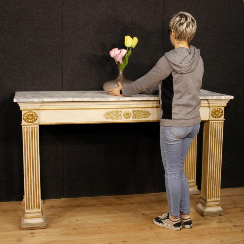 French Console Table In Lacquered And Gilt Wood In Empire Style From 20th Century