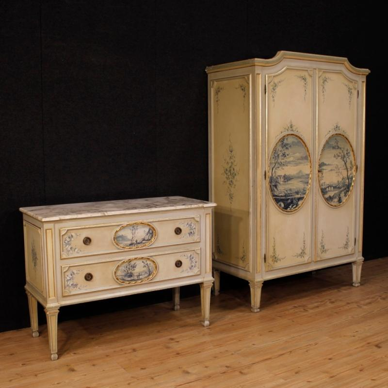 Italian Dresser In Lacquered, Painted And Gilt Wood With Marble Top In Louis XVI Style From 20th Century
