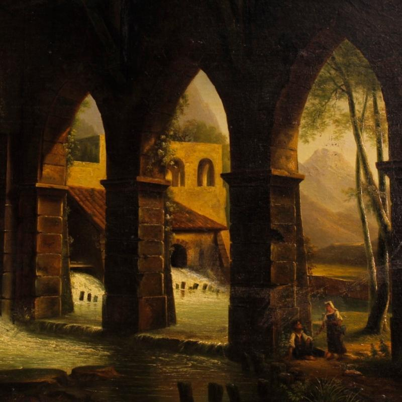 French Painting Oil On Canvas Landscape With Watermill And Characters From 19th Century