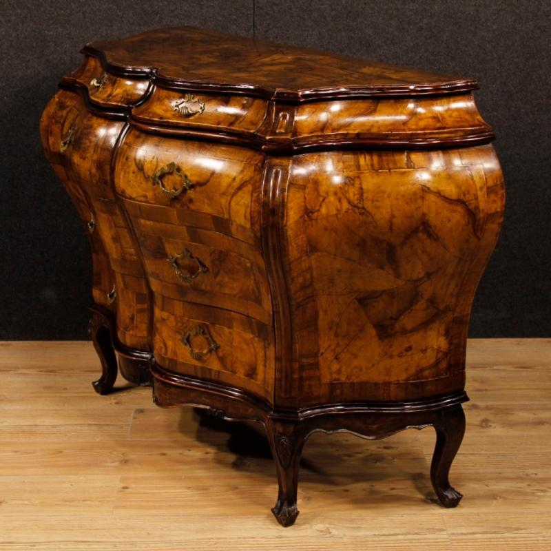 Venetian Dresser In Walnut And Burl Walnut In Louis XV Style From 20th Century