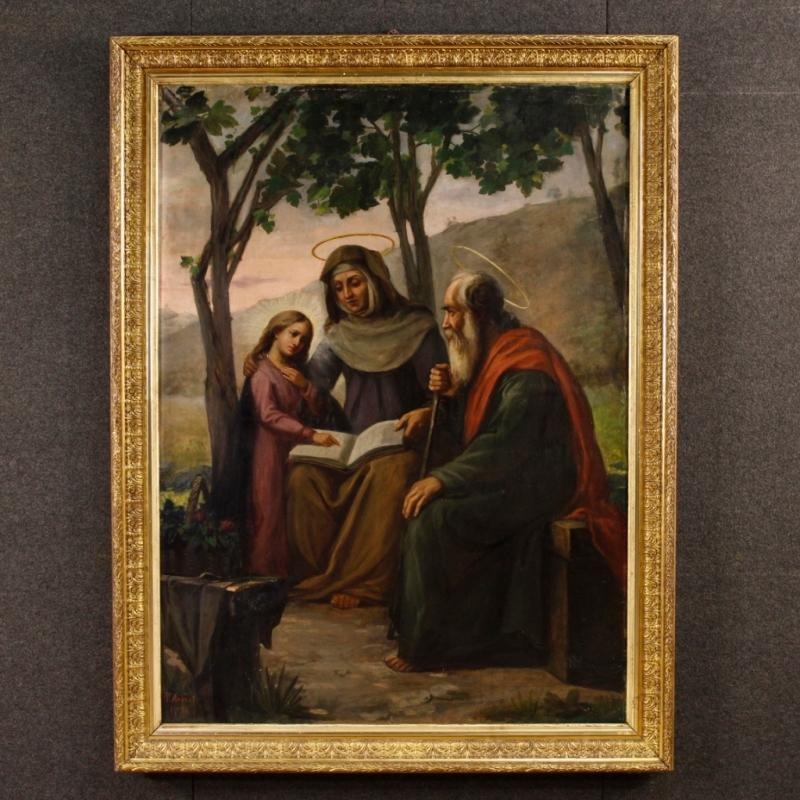 Italian Religious Painting  Holy Family Oil On Canvas Signed And Dated P. Arri 1898