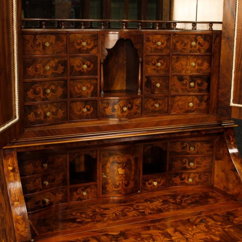 Dutch Trumeau In Inlaid Wood With Floral Decorations From 20th Century