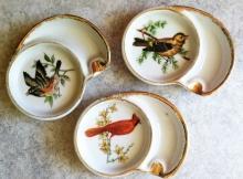 3 Ucagco Ceramics Individual Porclean Bird Ashtrays Coasters~ Made in Japanr