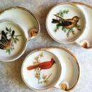 3 Ucagco Ceramics Individual Porclean Bird Ashtrays Coasters~ Made in Japanr