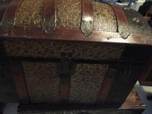 Antique 1800 camelback steamer trunk