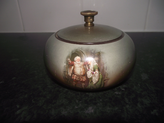A.O.C. Globe brand shakespeare pattern tobacco jar / humidor with patent hermetic lid