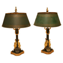 PAIR OF BRONZE BOULOTTE LAMPS