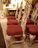 SET OF 6 EARLY 19TH CENTURY PORTUGUESE CARVED LIMED WOOD CHAIRS