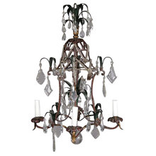 A PAINTED METAL FOUR-LIGHT CHANDELIER