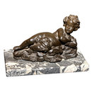 BRONZE CHERUB MOUNTED ON A MARBLE BASE