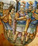 PAIR OF ITALIAN MAJOLICA HAND PAINTED URNS