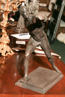 A SIGNED GRMAN BRONZE OF A ROMAN BORGHESE BOXER