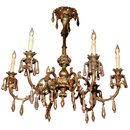19TH CENTURY VENETIAN WOOD AND IRON CHANDELIER