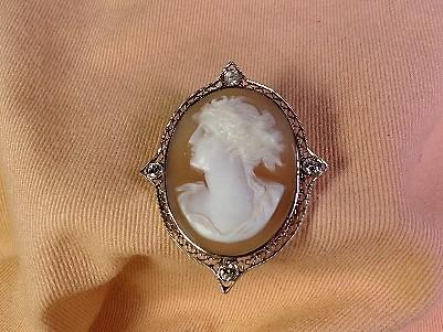 Antique Cameo with Diamonds and Gold