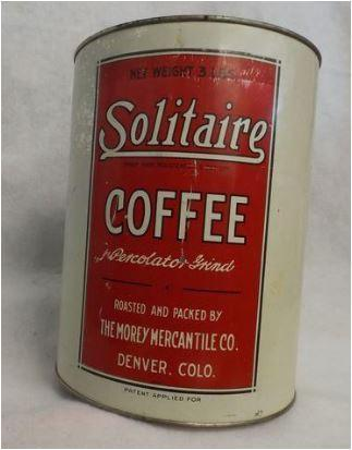 Vintage 1930-1950s Solitaire Coffee Can tin collectible cans for cookies