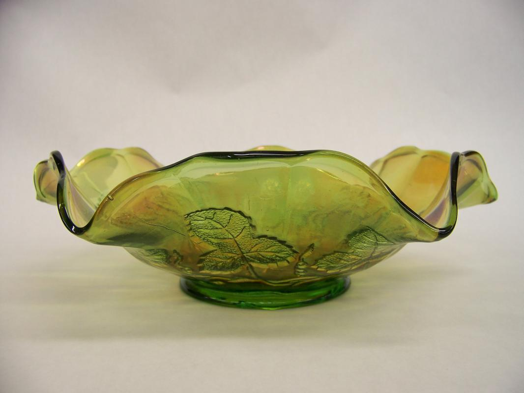 Green Millersburg Carnival Glass Bowl