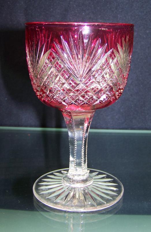 Cranberry Strawberry Diamond and Fan Wine Glass