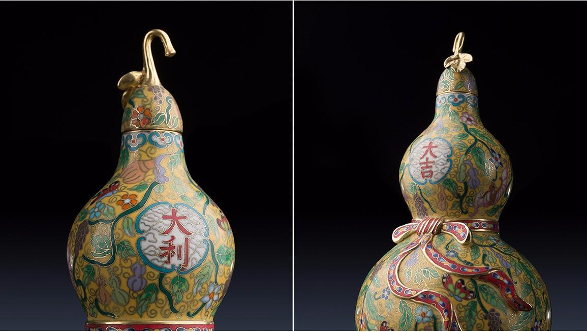 Chinese Gold enamel gourd Full AAA brass Pure china hand painted calabash Buddhism cucurbit