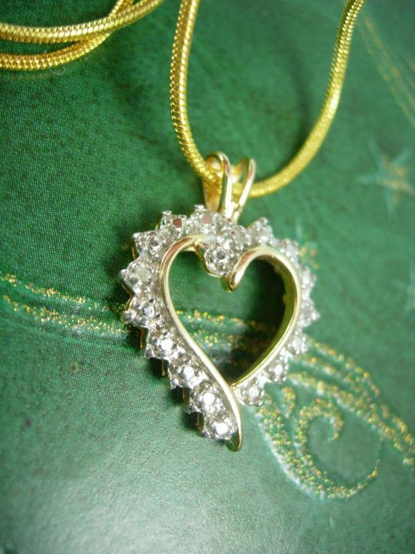 Genuine diamond Heart Pendant Vintage necklace sweetheart  sterling bridesmaid mother of the bride