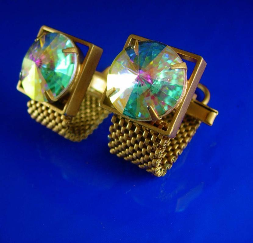 Swank Swarovski Cufflinks crystal rivoli  Set Vintage Wrap gold Mesh Crystal Prisms Pink Green Heliotrope vitrail cuff links