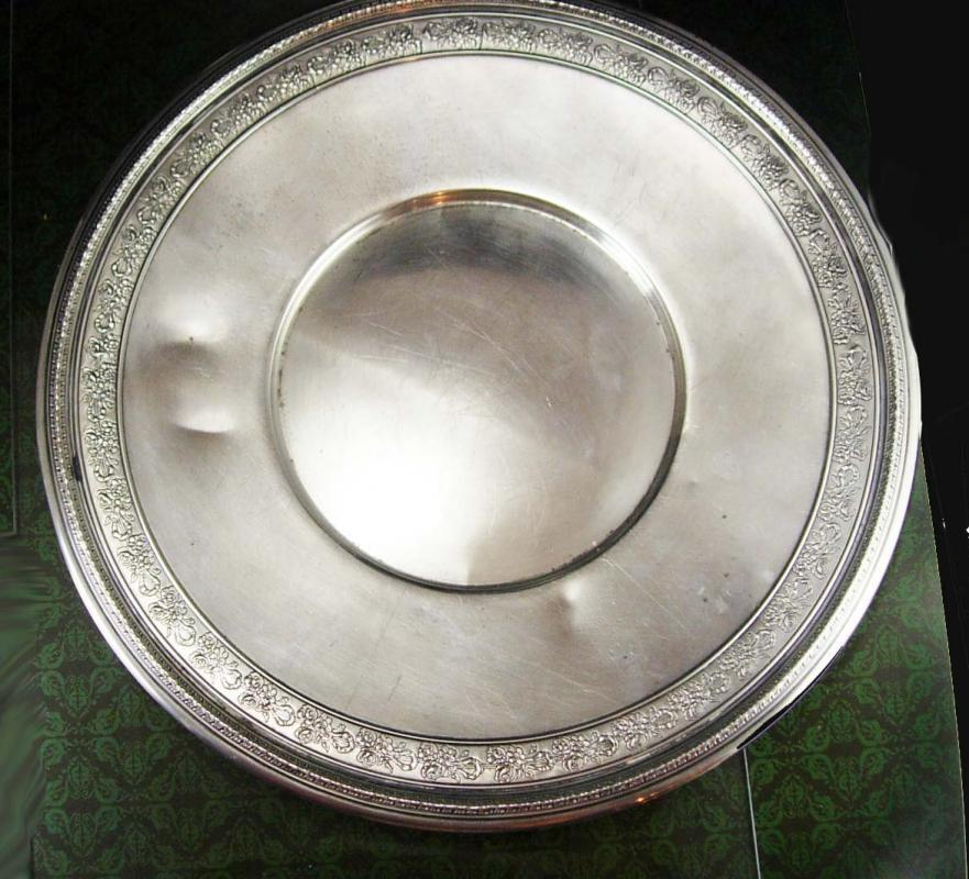 1927 Gorham sterling Silver tray or plate Fancy Rose flower ribbon pattern 412771 Hallmarked 9 3/4