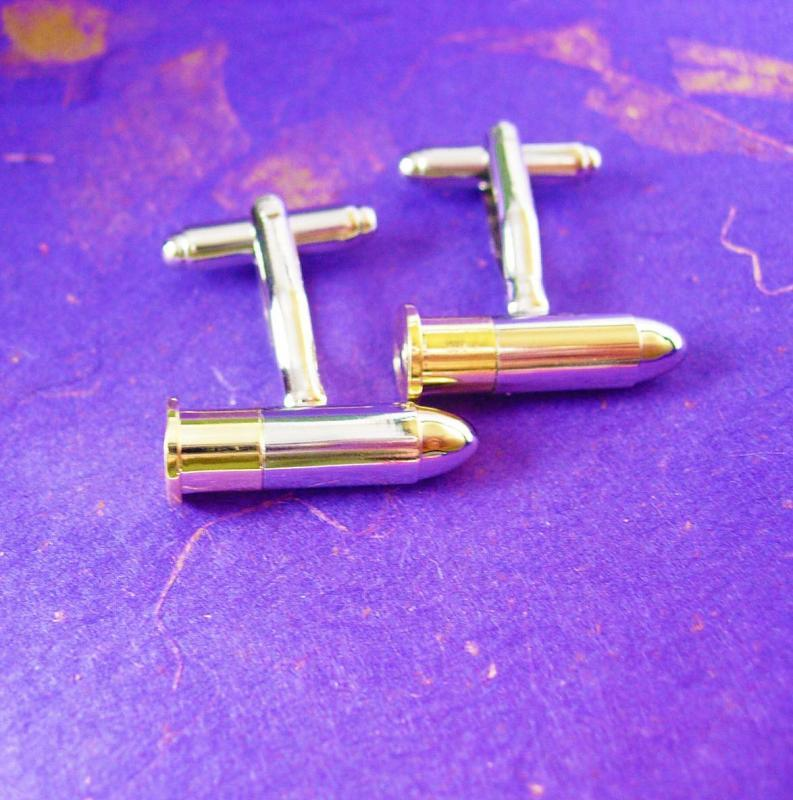 Bullet Cufflinks VAMPIRE Verses WEREWOLF Silver Tipped  Vintage Gold  NRA Ammo Men's Novelty Cuff Accessory
