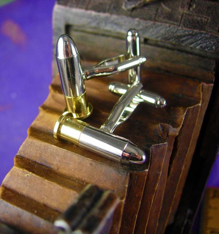 Bullet Cufflinks VAMPIRE Verses WEREWOLF Silver Tipped  Vintage Gold  NRA Ammo Men's Novelty Cuff Accessory