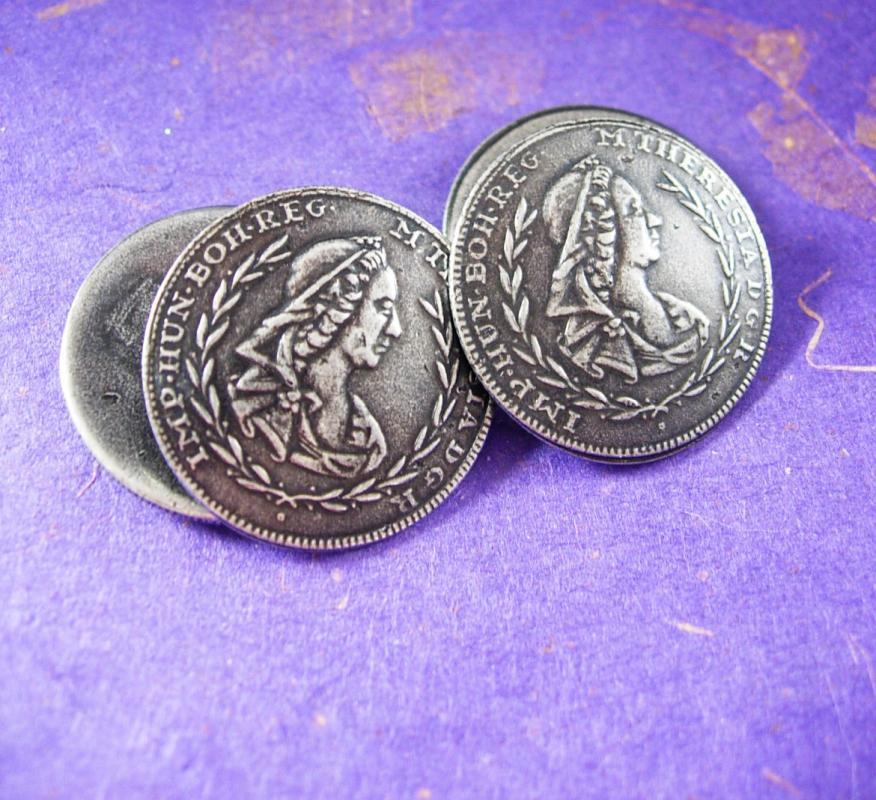 MARIE ANTOINETTE Cufflinks Large Antique Silver COINS Buttons Queen Maria Theresa Sleeve renaissance cuff links estate jewelry