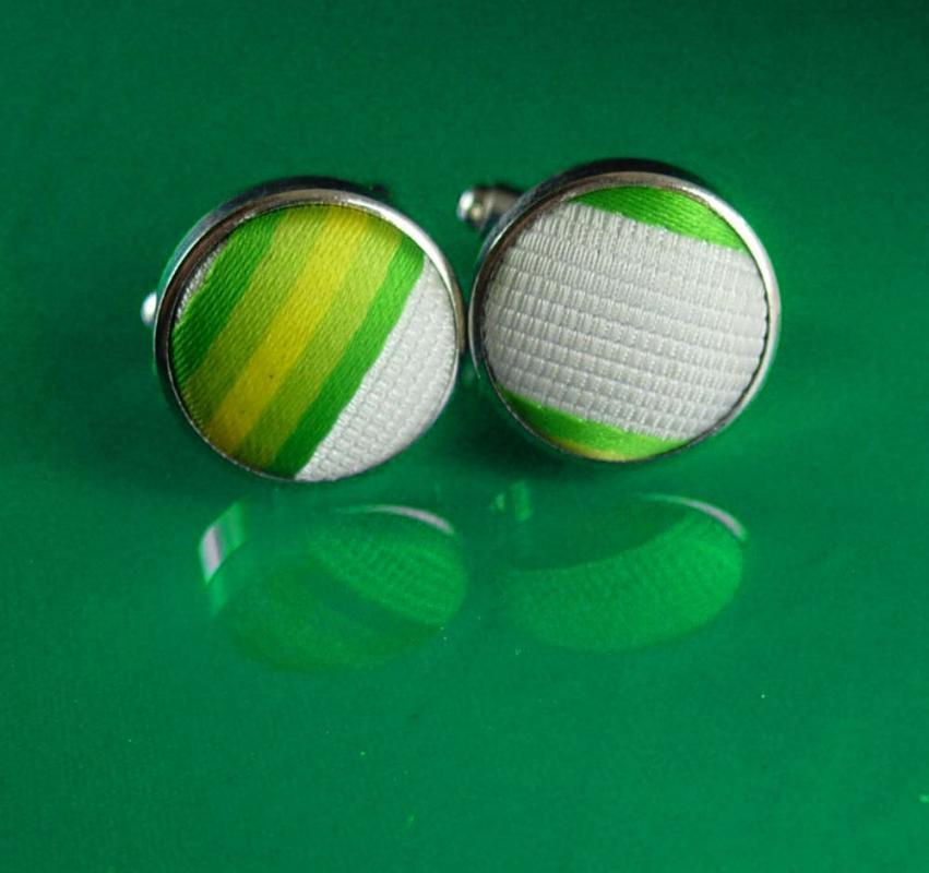 Vintage green Textile  Cufflinks Striped Wedding Formal Wear Cuff Jewelry hipster geek jewelry silver cuff links fashion designer gift