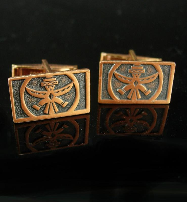 Native American Copper Cufflinks Vintage Thunderbird Indian Patent 2920363 mens cool gift accessory southwest jewelry